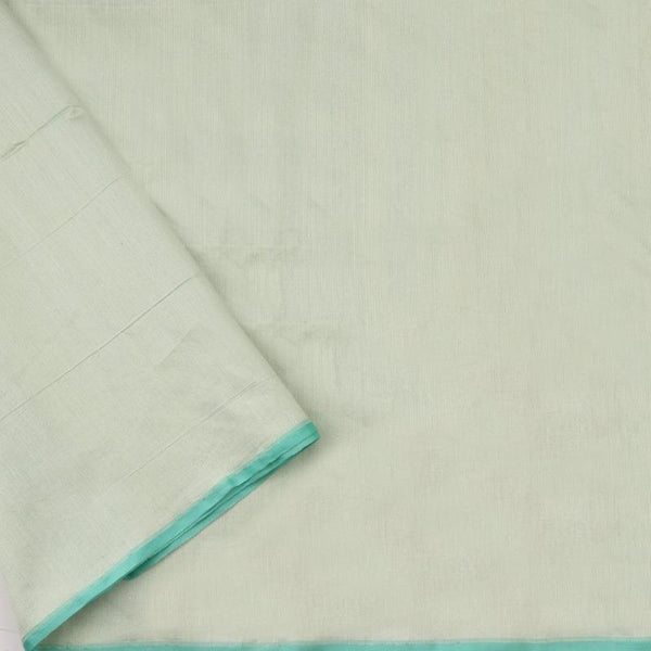 Handwoven Aqua Sky Blue Banarasi Silk Cotton Jamdani Suit - WIIRJ11285010 - Pant View