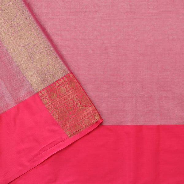 Handwoven Ecru Silk Cotton Chanderi Sari - WIISHNIKARIDNAM0100-4 - Blouse View