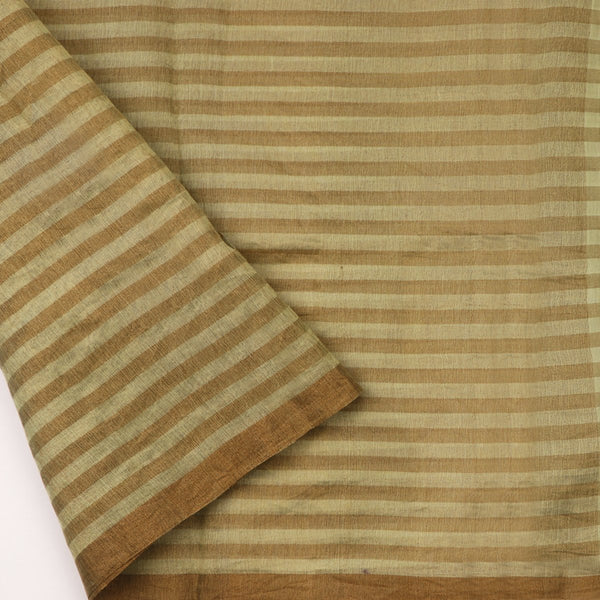 Handwoven Pista Green And Brown Checks Silk Cotton Chanderi Sari - WIIAPRI CTSR0002 - Blouse View