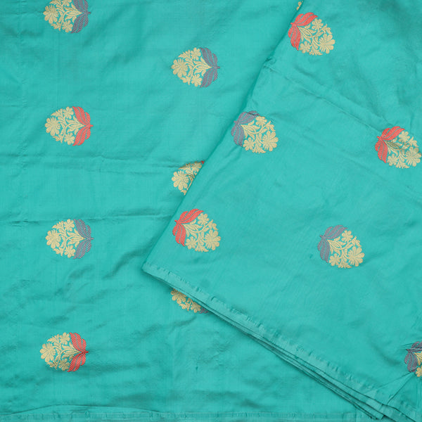 Handwoven Sea Foam Banarasi Brocade Butta Work Unstitched Silk Fabric - WIIAM0089 8 - Design View