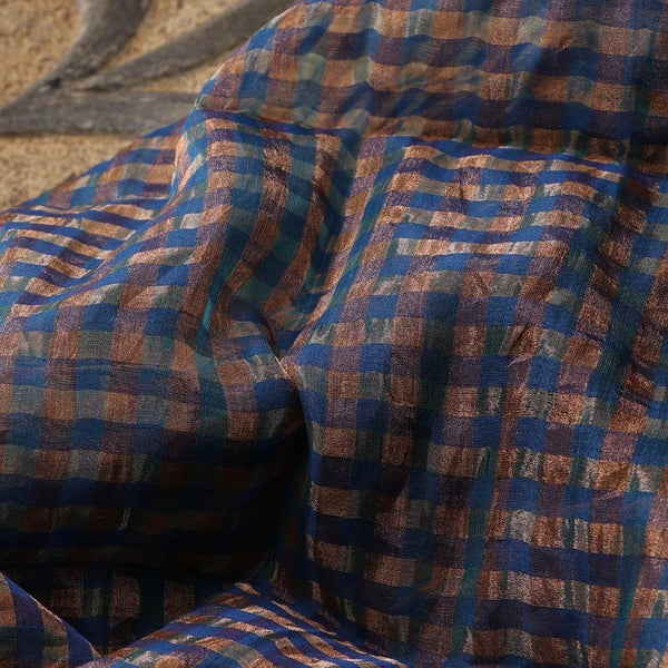 Handwoven Gold and Navy Blue Checks Silk Cotton Chanderi Dupatta - WIIAPRI CCSD 02 - Fabric View
