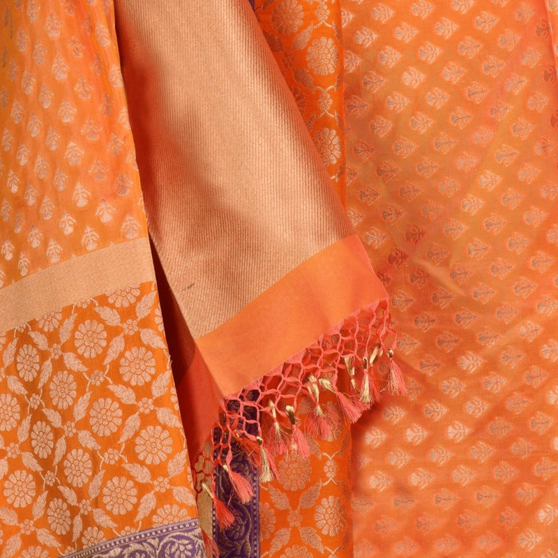 Handwoven Tang Orange Silk Banarasi Dupatta - WIIRJ11270023 - Design View
