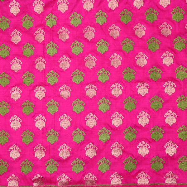 Handwoven Rani Pink Banarasi Silk Unstitched Fabric - WIIRJ0091 - Full View