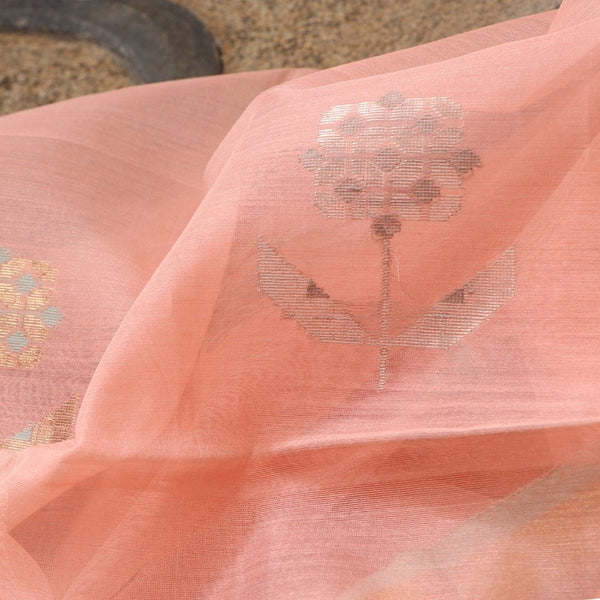 Handwoven Peach Silk Cotton Chanderi Dupatta - WIIAPRI CWMD 3 - Fabric View