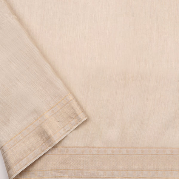 Handwoven Off-White Muga Tussar Silk Sari-WIIGS039 - Blouse View