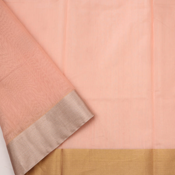 Handwoven Peach Silk Cotton Chanderi Sari - WIIAPRI CWMS 5 - Blouse View