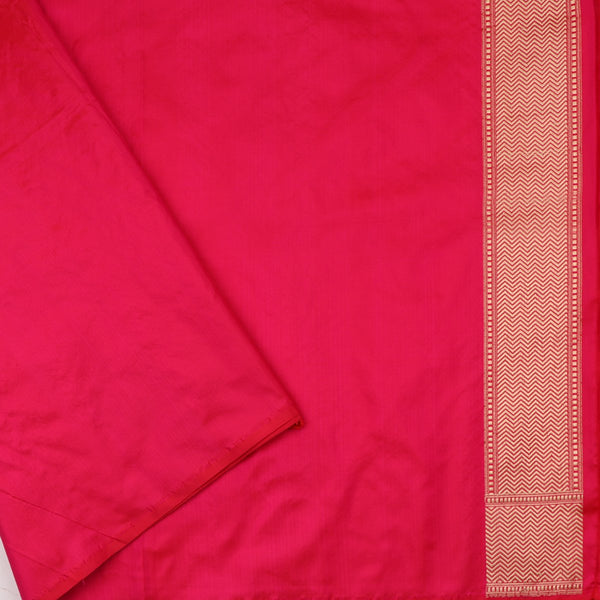 Handwoven Crimson Red Banarasi Silk Sari - WIIBT0087 - Blouse View