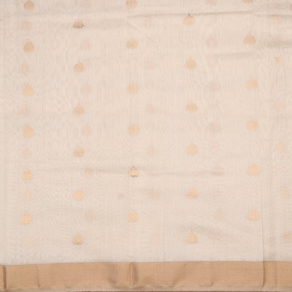 Handwoven Offwhite And Gold Butta Work Jamdani Unstitched Silk Fabric - WIIMARMWMF - Full View