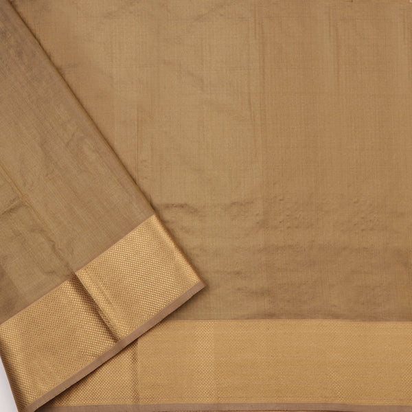 Handwoven Greenish Cream Textured Maheshwari Silk Cotton Sari-WIIGS038 - Blouse View