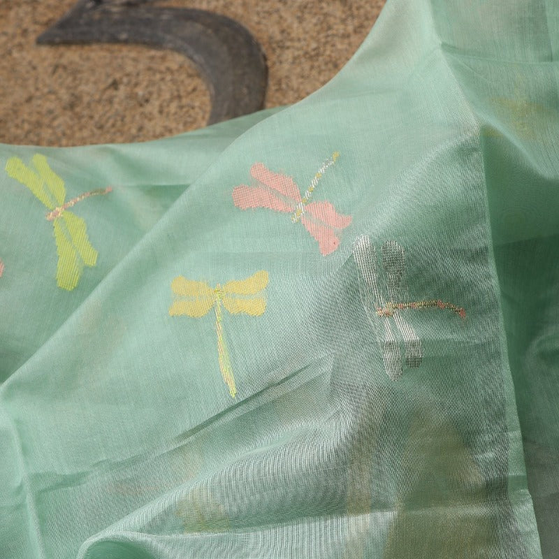 Handwoven Mint Green Dragonfly Silk Cotton Chanderi Dupatta - WIIAPRI CWMD 13  - Fabric View