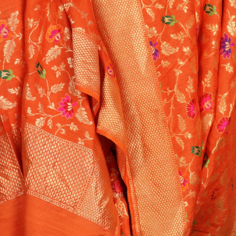 Handwoven Orange Katan Silk Meenakari Banarasi Dupatta - WIIRJ0186 - Design View
