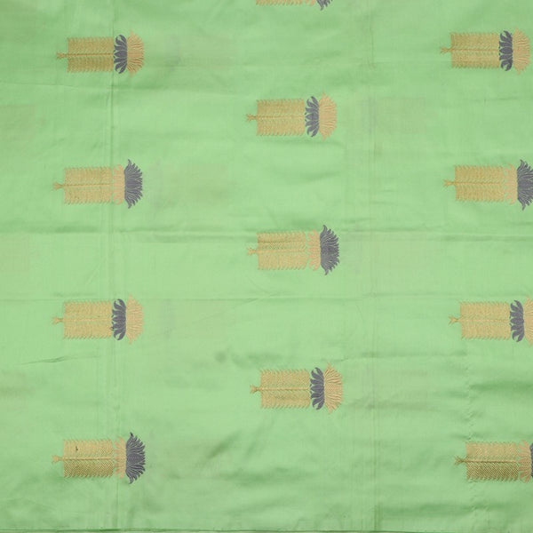 Handwoven Mint Gold Grey Banarsi Silk Unstitched Fabric - WIIAM0089 7 - Full View