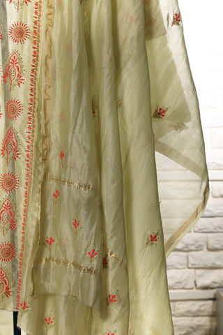Green Semi Stitched Chanderi Suit - WIINCK017-C