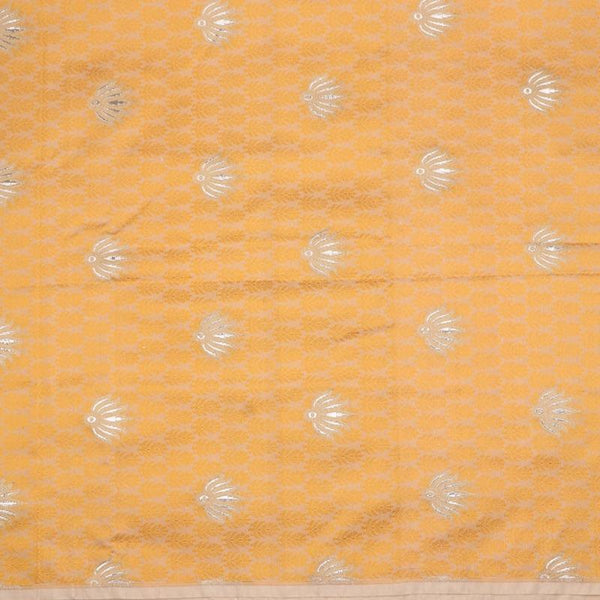 Handwoven Golden Yellow Banarasi Silk Unstitched Fabric - WIIRJ11276050 - Full View