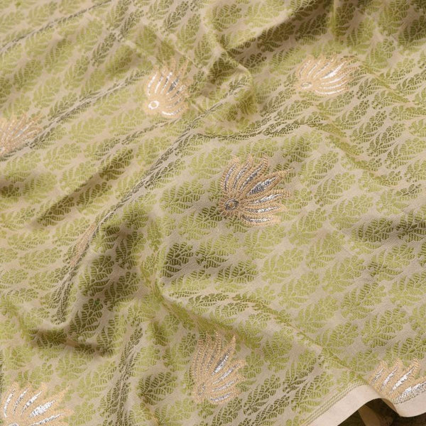 Handwoven Green And Beige Banarasi Butta Work Unstiched Silk Fabric - WIIRJ11276049 - Fabric View