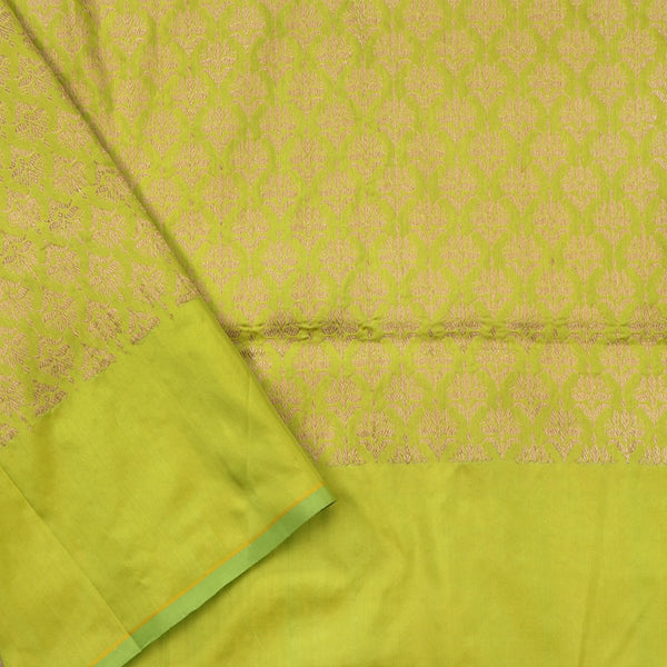Handwoven Lime Green Banarasi Silk Sari - WIIAM0124 - Blouse View