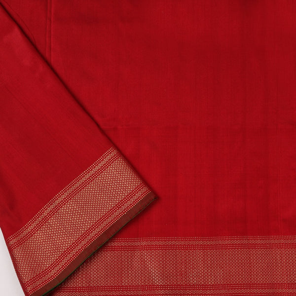 Handwoven Vermilion Red Single Ikat Twill Silk Sari With Kanjivaram Border-WIIGS033 - Blouse View
