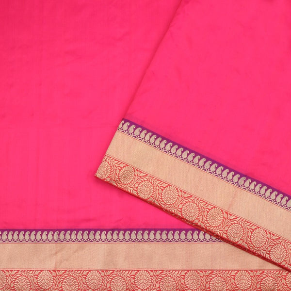 Handwoven Rani Pink Banarasi Border Unstitched Silk Fabric - WIIRJ11271012 - Blouse View
