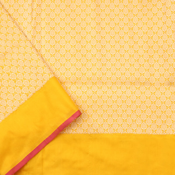Handwoven Sunshine Yellow Banarasi Silk Sari - WIIRJ101 - Blouse View