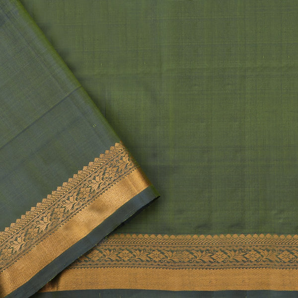 Handwoven Shades of Green Kanjivaram Silk Sari - WIIGS021 - Blouse View