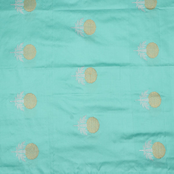 Handwoven Cyan Banarasi Silk Unstitched Fabric - WIIAM596 002B - Full View