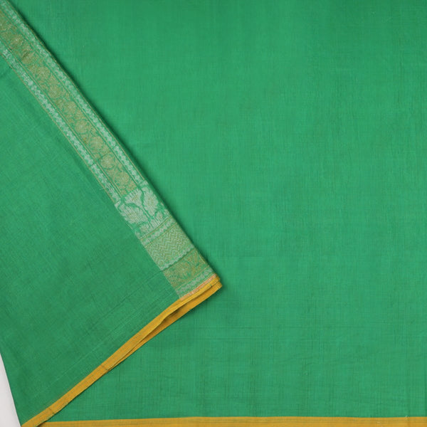 Handwoven Parrot Green Banarasi Muslin Cotton Sari-WIIGS045-Blouse View
