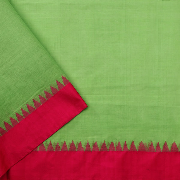 Handwoven Parrot Green Jamdani Cotton Silk Sari - WIIGS015 - Blouse View