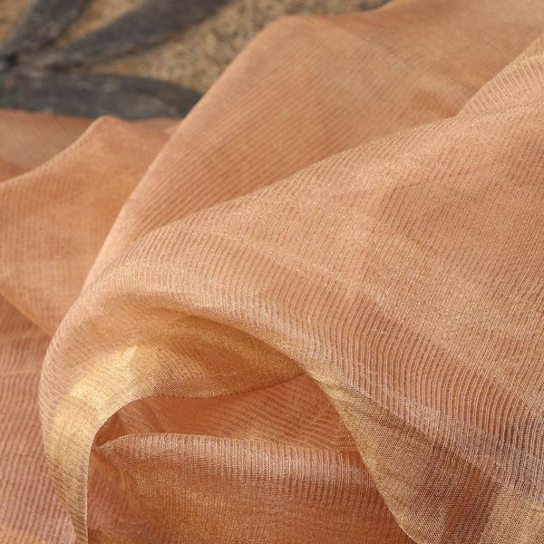 Handwoven Gold Pinstripes Silk Cotton Chanderi Dupatta - WIIAPRI CCSD 04 - Fabric View