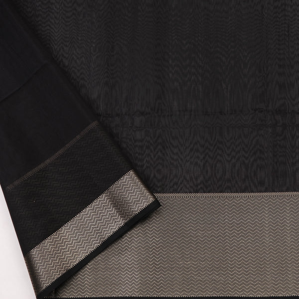Handwoven Midnight Black Kanjivaram Silk Sari-WIIGS035 - Blouse View