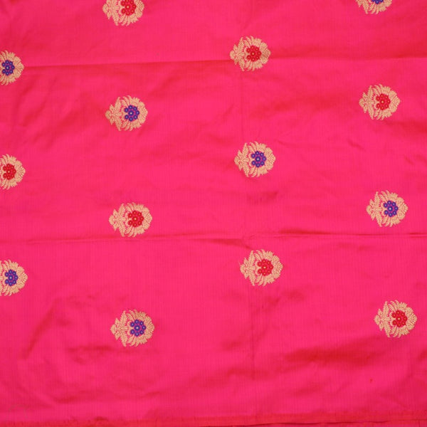 Handwoven Rani Pink Banarasi Silk Unstitched Fabric - WIIAM0089 1 - Full View