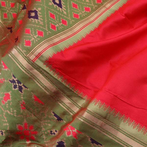 Handwoven Crimson Red Rajkot Single Ikat Dupatta  - WIISHNIKARIDNAM0091 - Fabric View