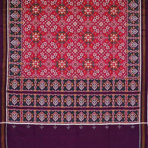 Handwoven Aubergine Purple and Cherry Red Navaratna Patan Patola Ikat Sari - WIITNKP005 - Full View