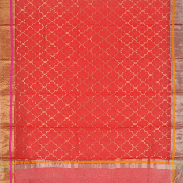 Handwoven Coral Pink Silk Cotton Chanderi Sari - WIIAPRI CFJS(4) - Full View