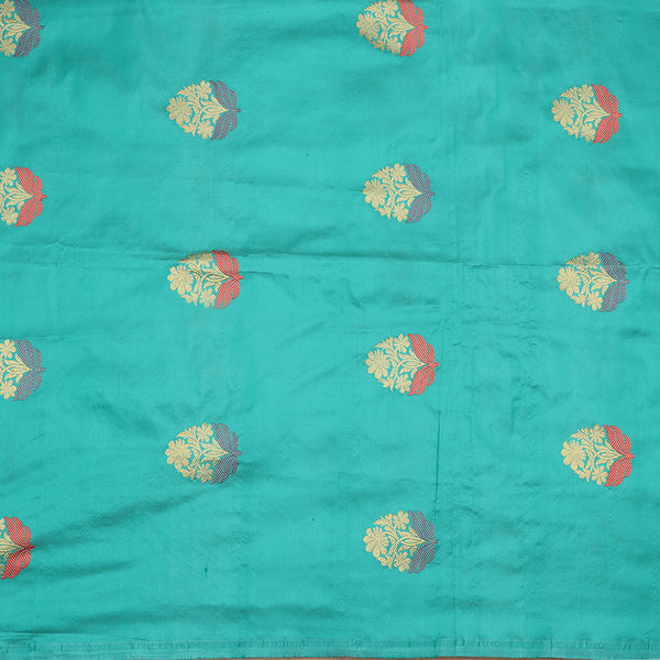 Handwoven Sea Foam Banarasi Brocade Butta Work Unstitched Silk Fabric - WIIAM0089 8 - Full View