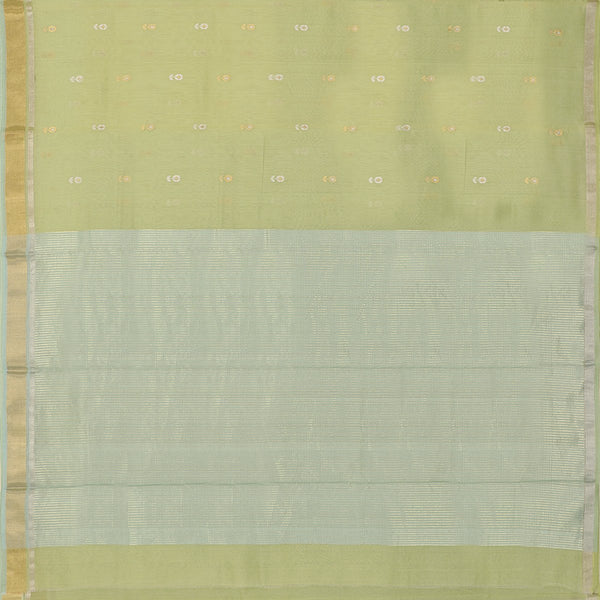 HANDWOVEN PISTA GREEN CHANDERI SILK EK NALIYA BUTTI SARI-WIIAPRICEBS 01- Full View