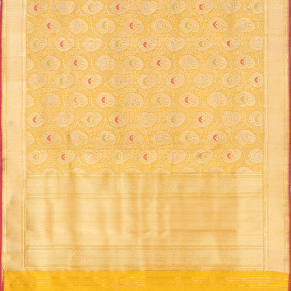 Handwoven Sunshine Yellow Banarasi Silk Sari - WIIRJ101 - Full View