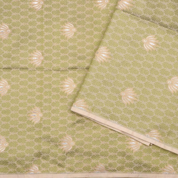 Handwoven Green And Beige Banarasi Butta Work Unstiched Silk Fabric - WIIRJ11276049 - Design View