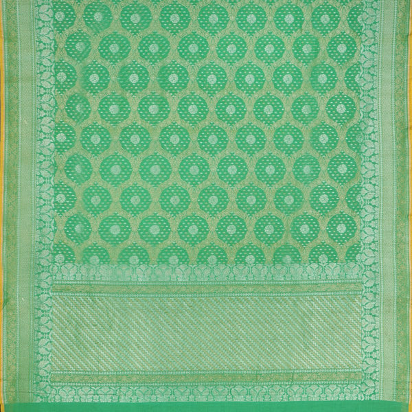 Handwoven Parrot Green Banarasi Muslin Cotton Sari-WIIGS045- Full View