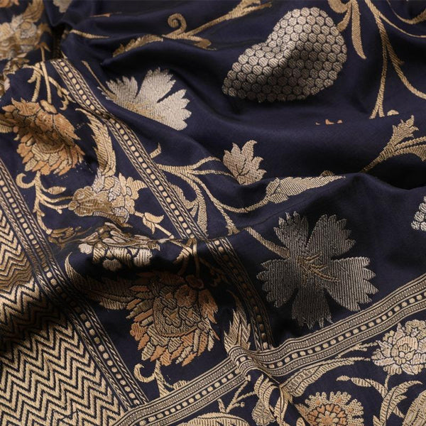 Handwoven Indigo Banarasi Silk Sari - WIIBT0100 - Fabric View 2
