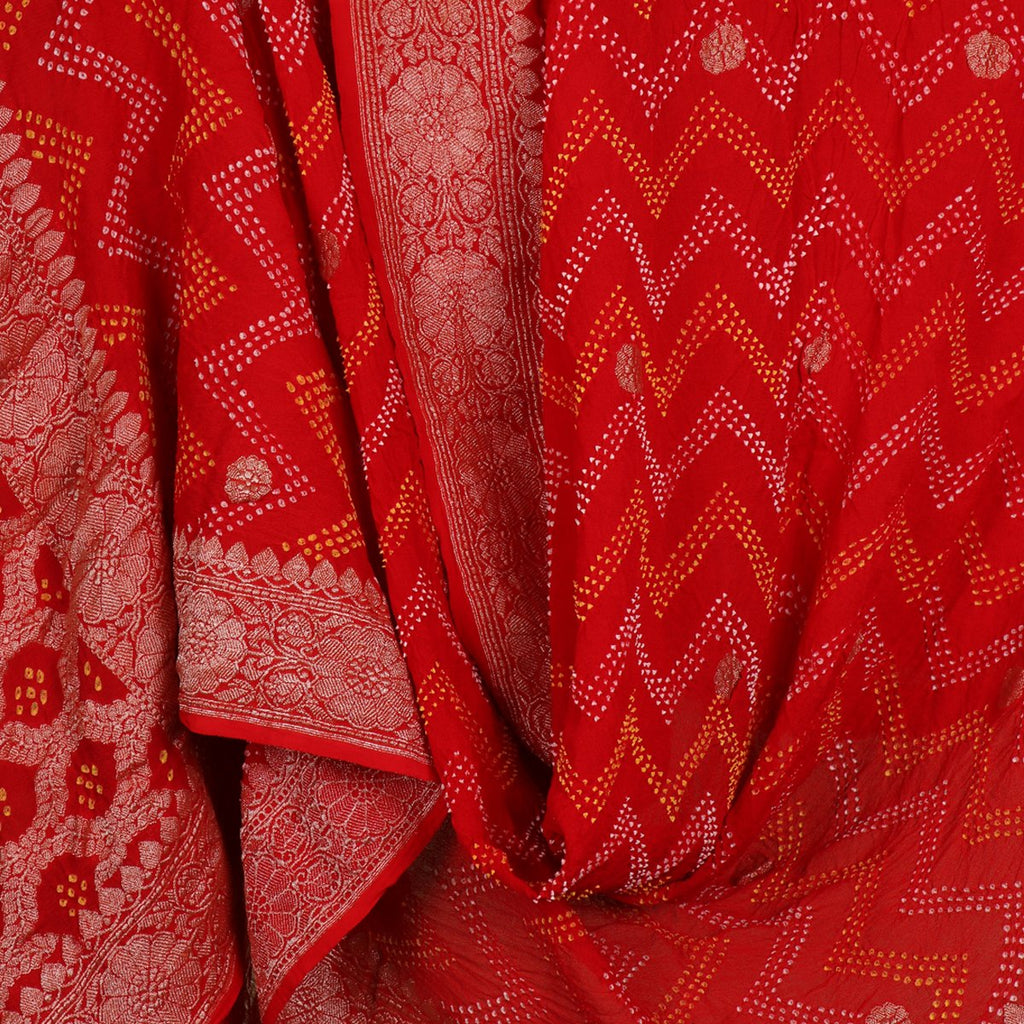 Handwoven Chilli Red Banarasi Bandhini Dupatta  - WIIPRK0020 - Full View