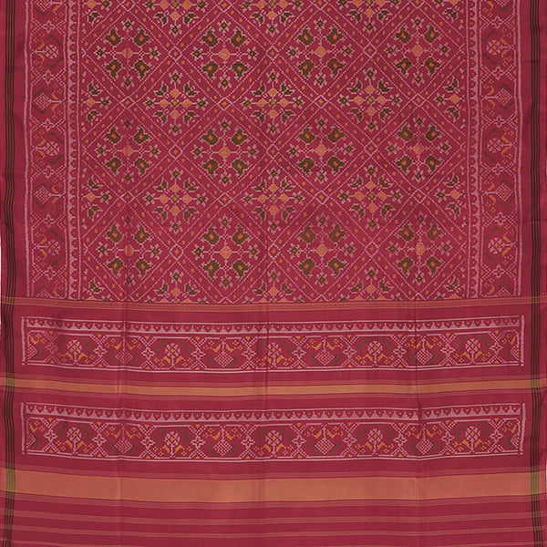Handwoven Crimson Single Ikat Patola Silk Sari - WIIPATANARIDNAM820718 - Full View