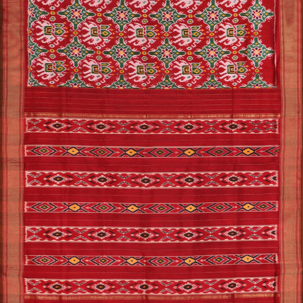 Handwoven Vermilion Red Single Ikat Twill Silk Sari With Kanjivaram Border-WIIGS033 - Full View