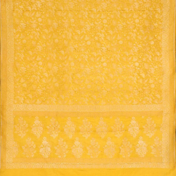 Handwoven Canary Yellow Banarasi Silk Sari-WIIGS051-Full View