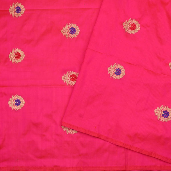 Handwoven Rani Pink Banarasi Silk Unstitched Fabric - WIIAM0089 1 - Design View