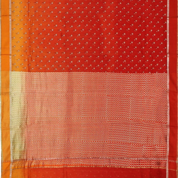 Handwoven Tangerine Orange Printed Silk Cotton Chanderi Sari - WIIAPRI CPSR0005 - Full View