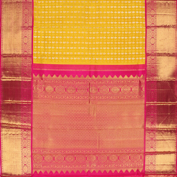Handwoven Sunshine Yellow Kanjivaram Silk Sari - WIIARIDNAM063 - Full View