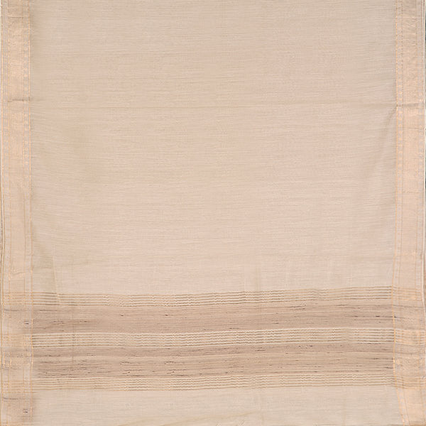 Handwoven Off-White Muga Tussar Silk Sari-WIIGS039 - Full View