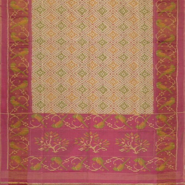 Handwoven Ecru Single Ikat Patola Silk Sari - WIIPATANARIDNAM1101118 - Full View