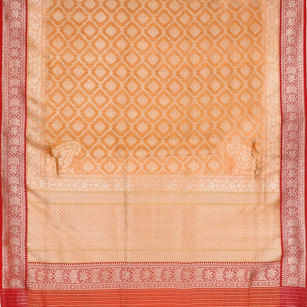 Handwoven Muskmelon Orange Banarasi Silk Sari - WIISDT0186(A) - Full View