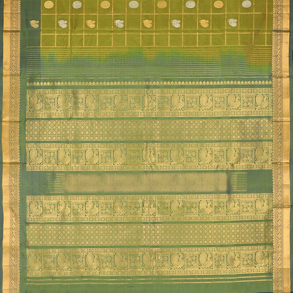 Handwoven Shades of Green Kanjivaram Silk Sari - WIIGS021 - Full View
